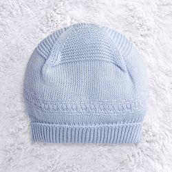 Touca para Bebê Tricot Clássico Azul