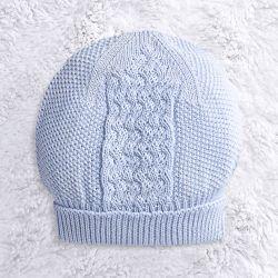 Touca para Bebê Tricot Zigzag Azul
