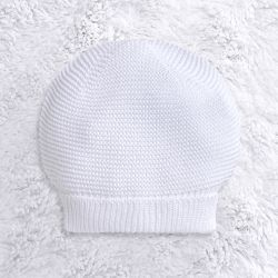 Touca para Bebê Tricot Liso Branco