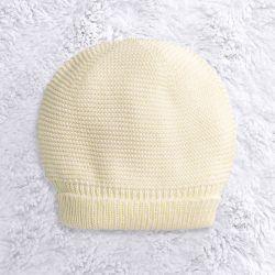 Touca para Bebê Tricot Liso Amarelo