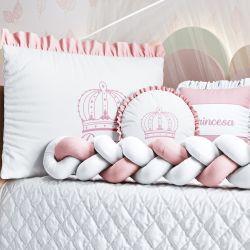 Kit Berço Trança Menina Princesa Rosa