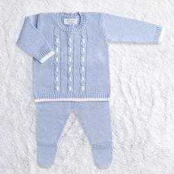 Saída Maternidade Tricot Trançado Casaquinho e Calça Azul 02 Peças