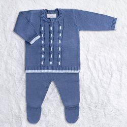 Saída Maternidade Tricot Trançado Casaquinho e Calça Azul Jeans 02 Peças