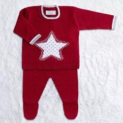 Saída Maternidade Tricot Estrelinha Casaquinho e Calça Vermelho 02 Peças