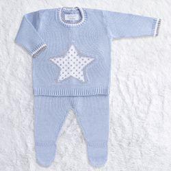 Saída Maternidade Tricot Estrelinha Casaquinho e Calça Azul 02 Peças