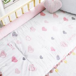Edredom de Berço Love Corações Rosa e Cinza