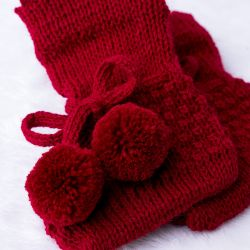 Sapatinho para Bebê Tricot Pompom Vermelho