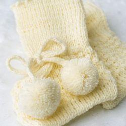 Sapatinho para Bebê Tricot Pompom Amarelo