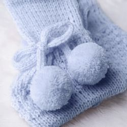 Sapatinho para Bebê Tricot Pompom Azul