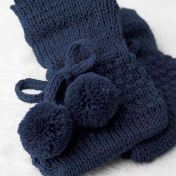Sapatinho para Bebê Tricot Pompom Azul Marinho