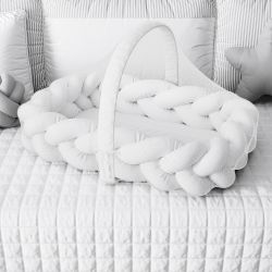 Ninho para Bebê Trança com Mosquiteiro Branco 80cm