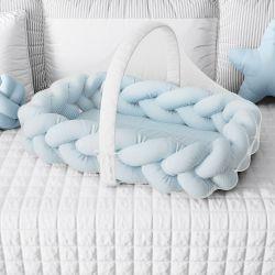 Ninho para Bebê Trança com Mosquiteiro Azul 80cm