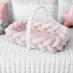 Ninho para Bebê Trança com Mosquiteiro Rosa 80cm