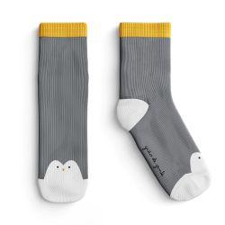Meia Infantil Trocapé Pinguim Cinza e Amarelo