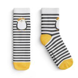 Meia Infantil Trocapé Pinguim Listrada Cinza e Amarelo