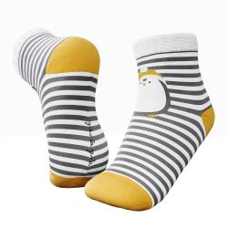 Meia Infantil Pinguim Listrada Cinza e Amarelo