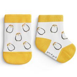 Meia Bebê Trocapé Pinguins Branco e Amarelo
