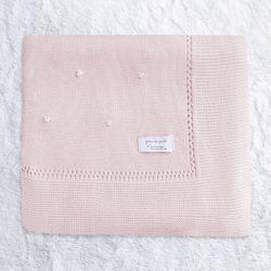 Manta Bebê Tricot Bolinha Rosa 80cm