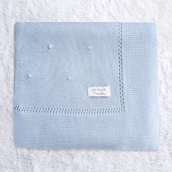 Manta Tricot Bolinha Azul 80cm