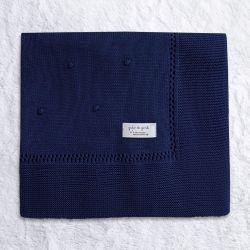 Manta Tricot Bolinha Azul Marinho 80cm