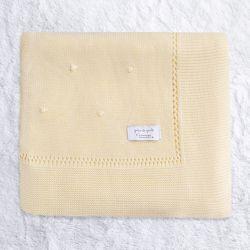 Manta Tricot Bolinha Amarelo 80cm