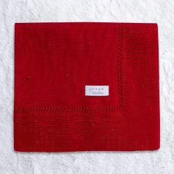 Manta Bebê Tricot Bolinha Vermelho 80cm