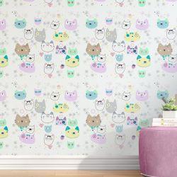 Papel de Parede Fantasia, Gatos e Flores 3M