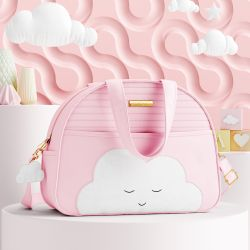 Bolsa Maternidade Amiguinha Nuvem Rosa 33cm