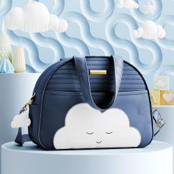 Bolsa Maternidade Amiguinho Nuvem Azul Marinho 33cm