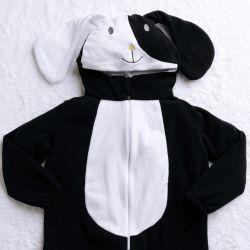 Macacão Fantasia Amiguinho Cachorrinho Preto e Branco
