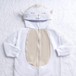 Macacão Fantasia Amiguinha Ovelhinha Branco e Amarelo