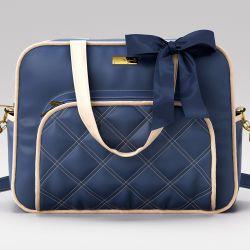 Bolsa Maternidade Luxo Azul Marinho e Bege 40cm