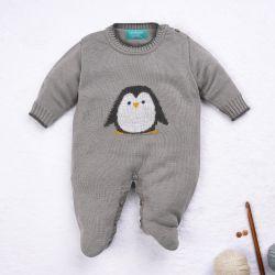 Macacão Tricot Pinguim Cinza