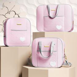 Conjunto de Mala, Mochila e Bolsa Maternidade Coração Rosa e Cinza 03 Pçs