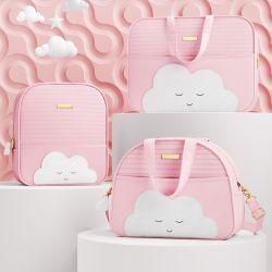 Conjunto de Mala, Bolsa e Mochila Maternidade Amiguinha Nuvem Rosa 03 Pçs