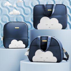 Conjunto de Mala, Bolsa e Mochila Maternidade Amiguinho Nuvem Azul Marinho 03 Pçs