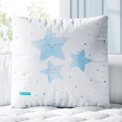 Almofada Quadrada Estrelinhas Sorridentes Azul 33cm
