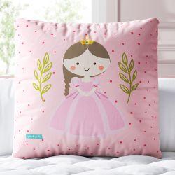 Almofada Quadrada Princesa Bel Poá Rosa 30cm
