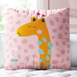 Almofada Quadrada Girafa Animal Print Rosa 33cm
