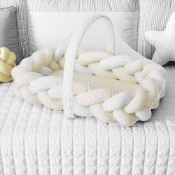 Ninho para Bebê Trança com Mosquiteiro Amarelo e Branco 80cm