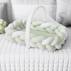 Ninho para Bebê Trança com Mosquiteiro Verde e Branco 80cm