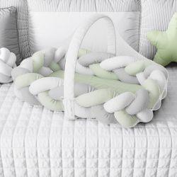 Ninho para Bebê Trança com Mosquiteiro Verde e Cinza 80cm