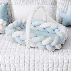 Ninho para Bebê Trança com Mosquiteiro Azul e Branco 80cm