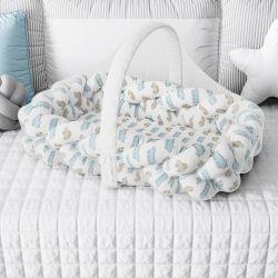 Ninho para Bebê Trança com Mosquiteiro Carrinhos Azul e Bege 80cm