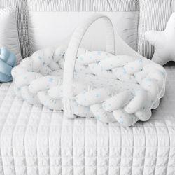 Ninho para Bebê Trança com Mosquiteiro Estrelinhas Azul 80cm