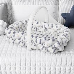 Ninho para Bebê Trança com Mosquiteiro Carrinhos Azul Marinho 80cm