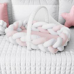 Ninho para Bebê Trança com Mosquiteiro Rosa e Branco 80cm