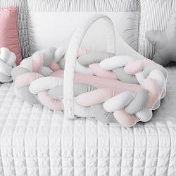 Ninho para Bebê Trança com Mosquiteiro Rosa e Cinza 80cm