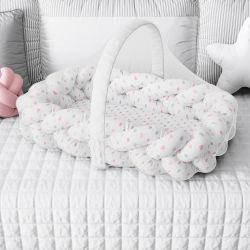 Ninho para Bebê Trança com Mosquiteiro Corações Rosa 80cm