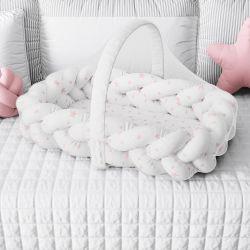 Ninho para Bebê Trança com Mosquiteiro Estrelinhas Rosa 80cm